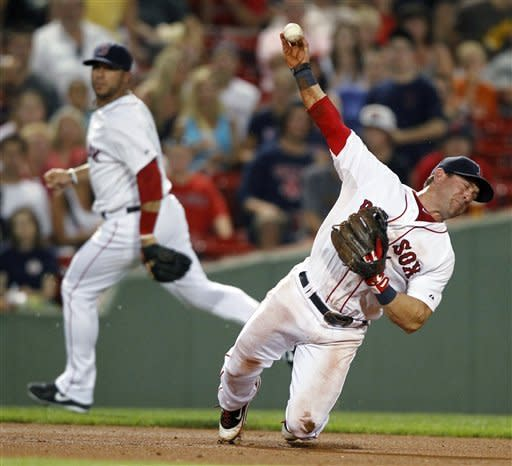 Boston Red Sox's Nick Punto, right, throws to first base after fielding the ball on a single by Minnesota Twins' Jamey Carroll in the fifth inning of a baseball game in Boston, Saturday, Aug. 4, 2012. (AP Photo/Michael Dwyer)