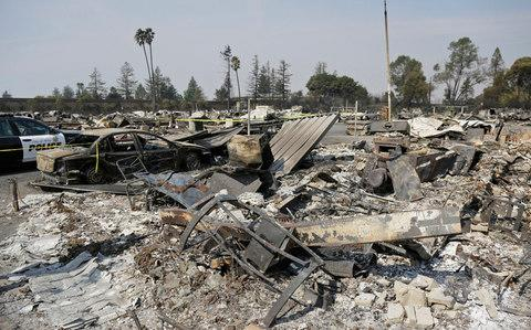 The remains of Journey's End mobile home park in Santa Rosa - Credit: AP