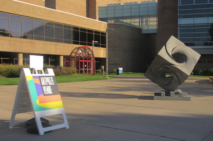 """""""Infinity Cube"""" will be on display until Oct. 4, 2021 at Grand Valley State University's L.V. Eberhard Center in Grand Rapids, Mich. (Photo/Levi Rickert)"""