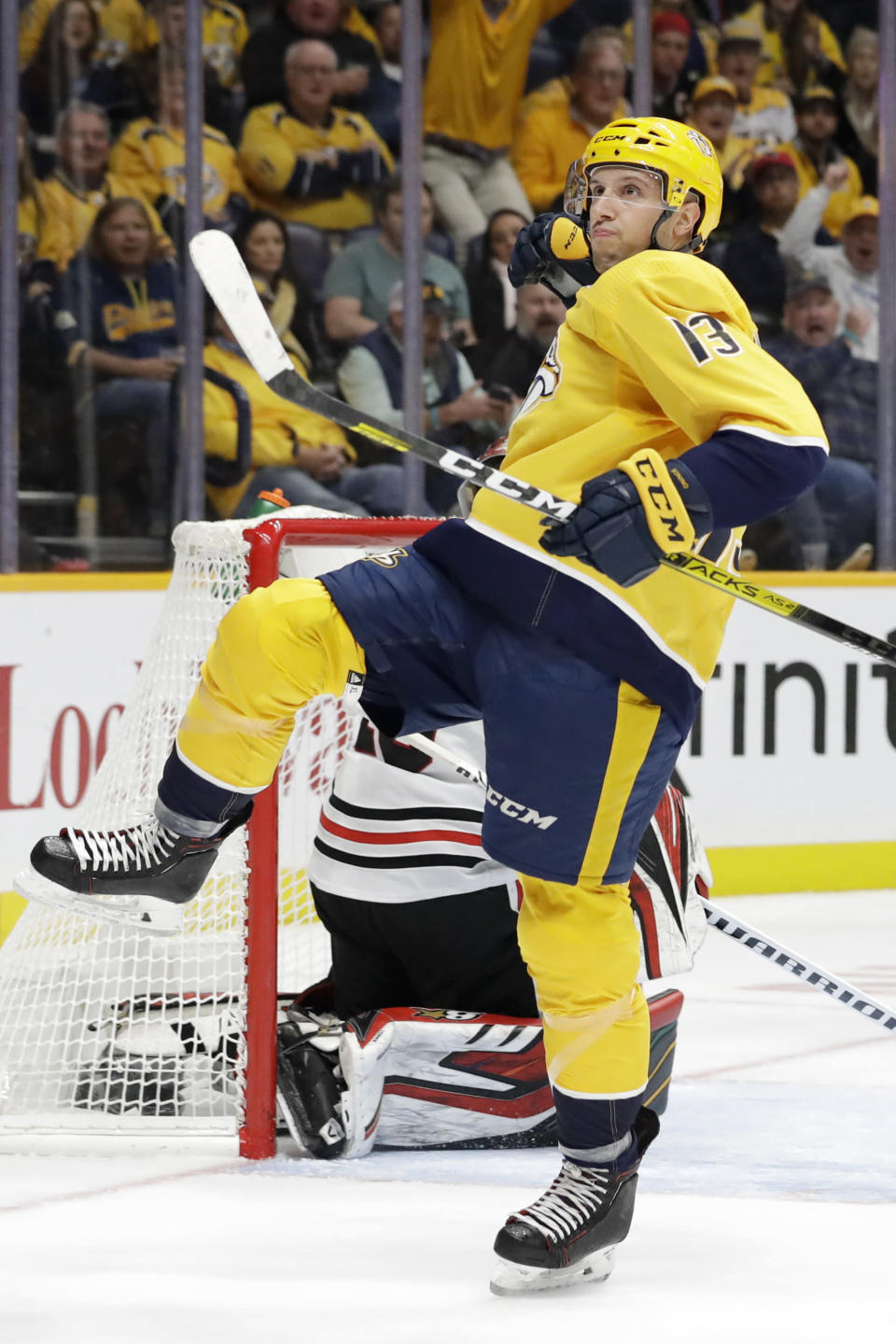 Nashville Predators center Nick Bonino celebrates after scoring his second goal of the night against the Chicago Blackhawks, during the second period of an NHL hockey game Tuesday, Oct. 29, 2019, in Nashville, Tenn. Bonino scored all three of Nashville's goals as the Predators won 3-0. (AP Photo/Mark Humphrey)