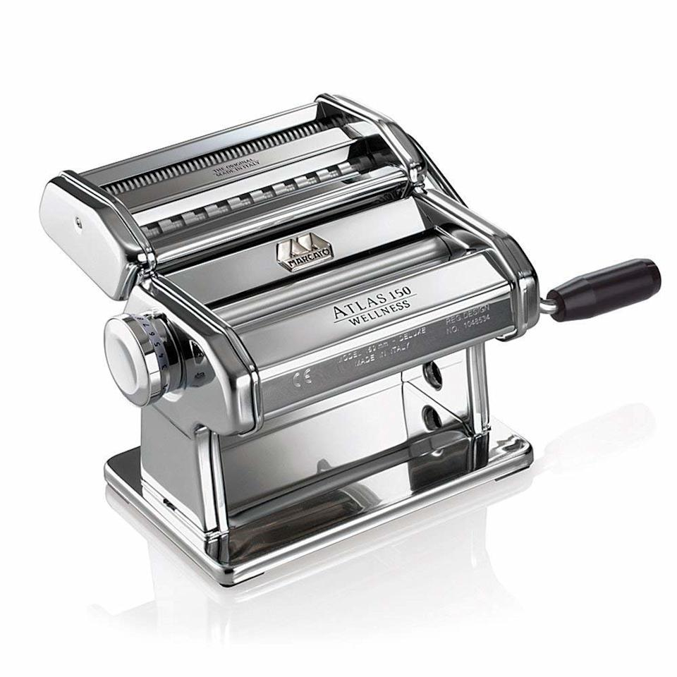 """<p>Create restaurant-worthy meals of your own at home with this chrome-plated pasta machine that rolls and cuts dough in mere minutes.</p> <p><strong>To buy:</strong> $60; <a href=""""https://www.amazon.com/dp/B0009U5OSO/ref=as_li_ss_tl?ie=UTF8&linkCode=ll1&tag=rsweddingsjlawregistryrsylvester0919-20&linkId=22a17e45645108e6506fa514b24648c3&language=en_US"""" target=""""_blank"""">amazon.com</a>.</p>"""
