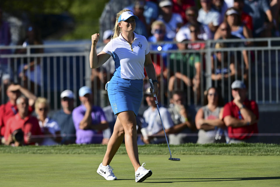 Europe's Matilda Castren celebrates after her win on the 18th hole agains United States' Lizette Salas during the singles matches at the Solheim Cup golf tournament, Monday, Sept. 6, 2021, in Toledo, Ohio. (AP Photo/David Dermer)
