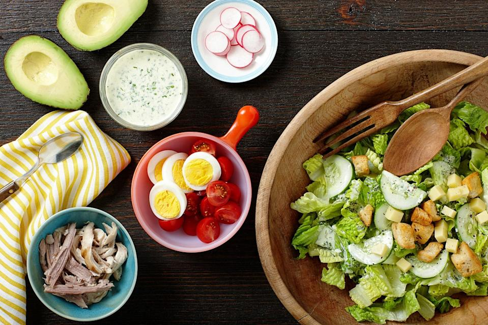 """This standard diner salad may have petered out in the early '90s, but this version reminds us why it was popular in the first place. Smoky chicken and pork stand in for the typical drab turkey and ham, and the addition of herb-packed chimichurri dressing makes this salad fresh again. <a href=""""https://www.epicurious.com/recipes/food/views/summer-chefs-salad-with-grilled-pork-chicken-and-chimichurri-ranch-dressing-56389620?mbid=synd_yahoo_rss"""" rel=""""nofollow noopener"""" target=""""_blank"""" data-ylk=""""slk:See recipe."""" class=""""link rapid-noclick-resp"""">See recipe.</a>"""