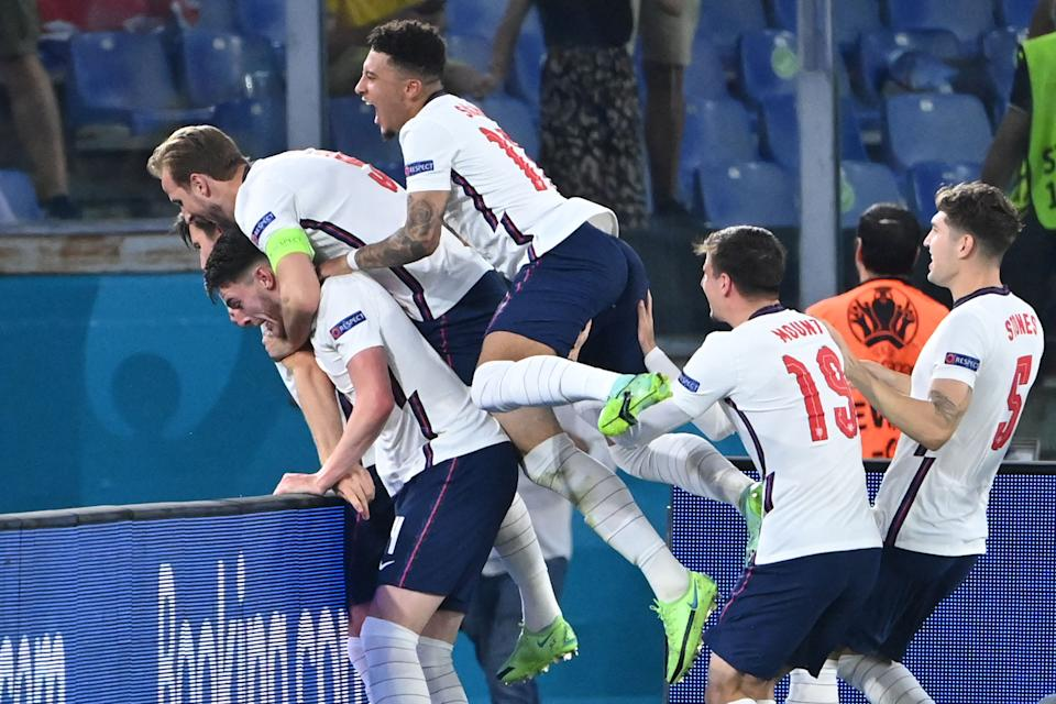 England players celebrate a goal during their UEFA Euro 2020 quarter-final victory against Ukraine on Saturday