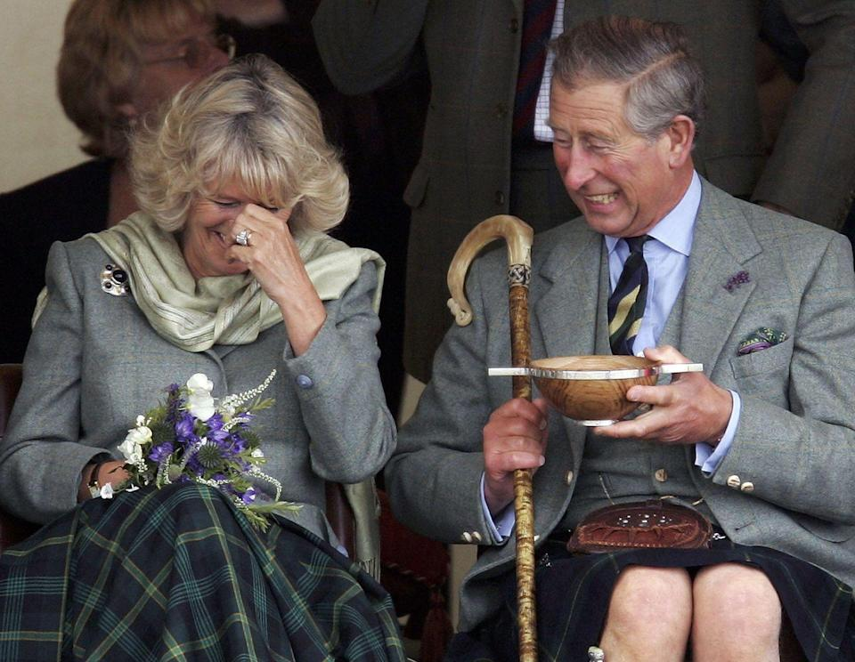 <p>The Prince of Wales and his new wife Camilla, the Duchess of Cornwall, drank some whisky and had a laugh at the 2005 Mey Games in Caithness, Scotland. </p>