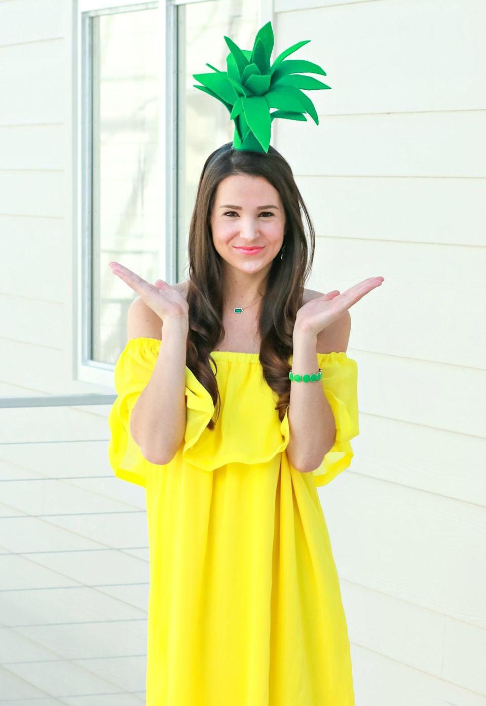 """<p>Make this budget-friendly outfit the pineapple of your eye on October 31. </p><p><strong>Get the tutorial at <a href=""""https://thediaryofadebutante.com/diy-pineapple-costume/"""" rel=""""nofollow noopener"""" target=""""_blank"""" data-ylk=""""slk:Diary of a Debutante"""" class=""""link rapid-noclick-resp"""">Diary of a Debutante</a>. </strong></p><p><strong><a class=""""link rapid-noclick-resp"""" href=""""https://www.amazon.com/Emerald-Green-Acrylic-Craft-Felt/dp/B001AQ9H98/?tag=syn-yahoo-20&ascsubtag=%5Bartid%7C10050.g.28181767%5Bsrc%7Cyahoo-us"""" rel=""""nofollow noopener"""" target=""""_blank"""" data-ylk=""""slk:SHOP GREEN FELT"""">SHOP GREEN FELT</a><br></strong></p>"""