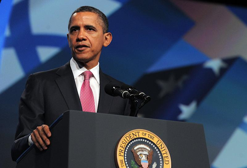 Then-President Barack Obama addresses the AIPAC policy conference in 2012. Obama-era policies like the Iran nuclear deal shifted Democratic politics on the Middle East to the left. (Photo: JEWEL SAMAD/Getty Images)