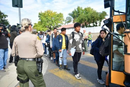Students were evacuated by bus after a shooting at Saugus High School in Santa Clarita, California