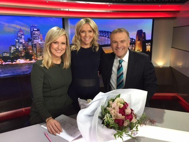 Seven colleagues Melissa Doyle and Jim Wilson farewell Sarah on her final bulletin