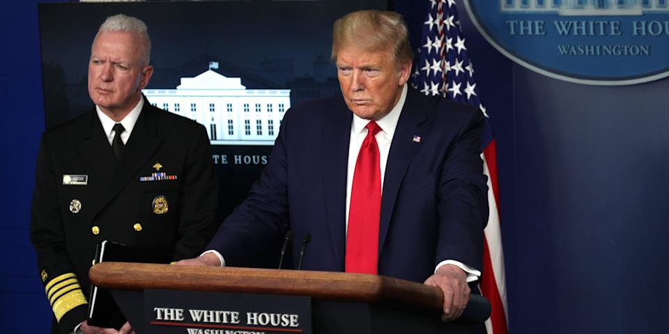 US President Donald Trump and Adm. Brett Giroir, assistant secretary of Health attend the daily coronavirus briefing at the White House April 20, 2020 in Washington, DC. Oil prices fell below zero today due to a collapse in energy demand and near full capacity of storage tanks in the U.S., brought on by the COVID-19 pandemic lockdown.