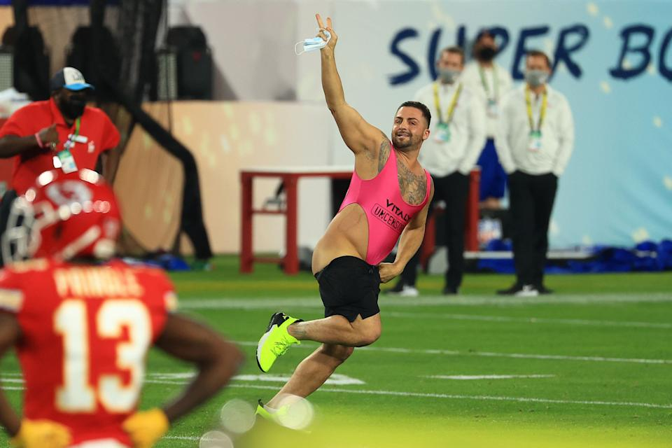 The man ran onto the field before victory was declared for the Tampa Bay Buccaneers. (Photo: Mike Ehrmann via Getty Images)