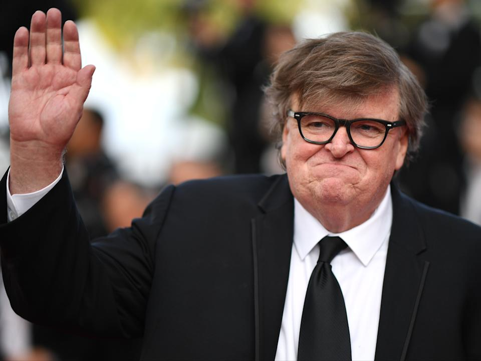 Michael Moore at the Cannes Film Festival in France on 25 May 2019 (LOIC VENANCE/AFP via Getty Images)