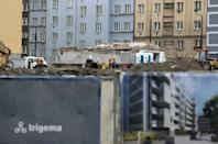 Workers are seen at Nova Nuselska project in Prague