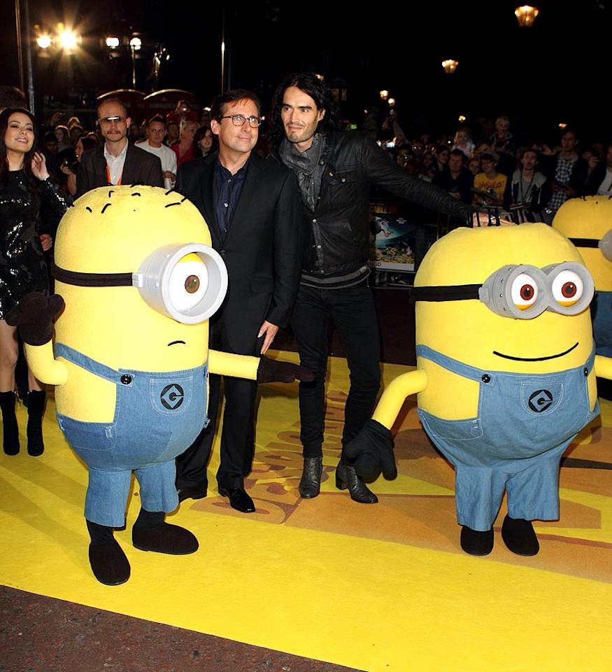 """Real-life Russell was busy instead hitting the red carpet with his buddy Steve Carell and some short yellow friends for the London premiere of his animated comedy, """"Despicable Me."""" Mike Marsland/<a href=""""http://www.wireimage.com"""" target=""""new"""">WireImage.com</a> - October 11, 2010"""