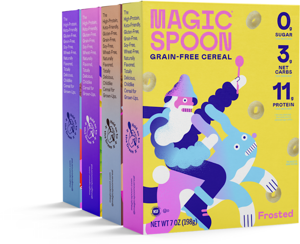"""<p>magicspoon.com</p><p><strong>$39.00</strong></p><p><a href=""""https://magicspoon.com/products/variety-pack-cereal-case"""" rel=""""nofollow noopener"""" target=""""_blank"""" data-ylk=""""slk:Shop Now"""" class=""""link rapid-noclick-resp"""">Shop Now</a></p><p>His favorite childhood cereal reimagined! Magic Spoon cereal comes in four delicious flavors (fruity, frosted, cocoa, and blueberry) and is keto friendly, low carb, and high protein.</p>"""