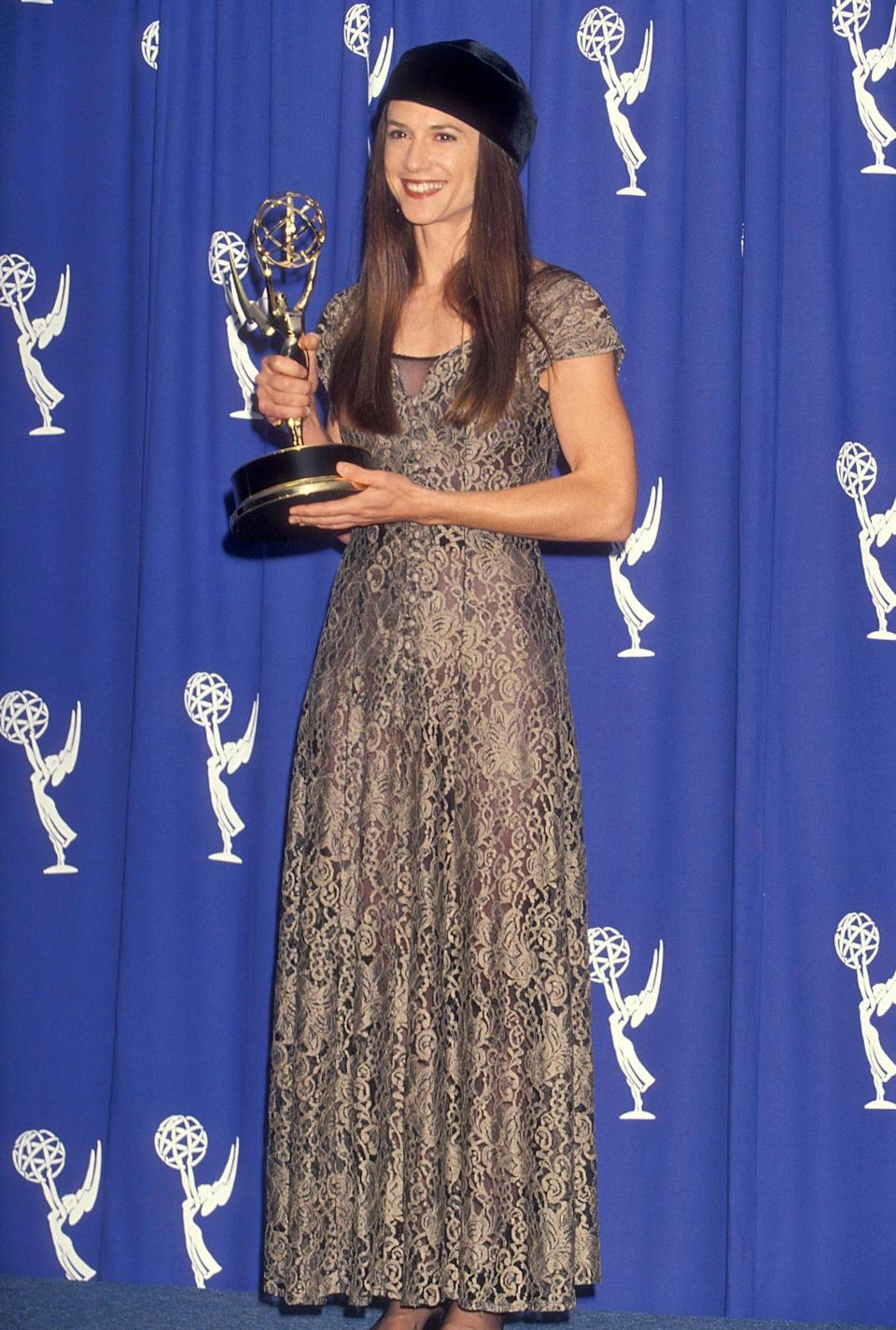 <p>Hunter has been nominated for six Emmys and won two; in 1993 (right) she scored the outstanding lead actress in a miniseries or special trophy for <em>The Positively True Adventures of the Alleged Texas Cheerleader-Murdering Mom.</em></p>