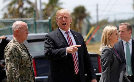 U.S. President Donald Trump speaks during a visit to the Joint Interagency Task Force South (JIATF South) federal anti-smuggling and anti-drug trafficking agency in Key West, Florida, U.S. April 19, 2018.  REUTERS/Kevin Lamarque