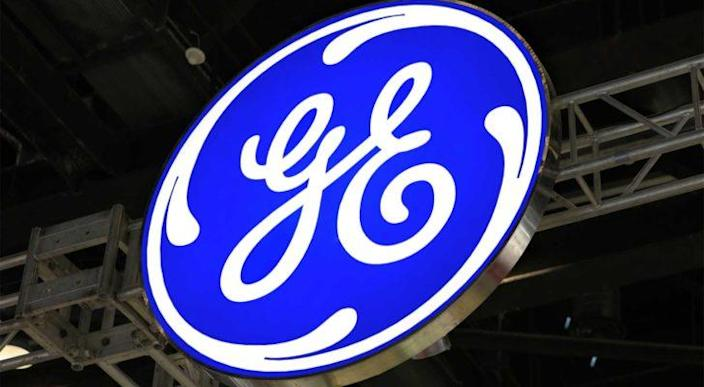 A large General Electric (GE) sign.