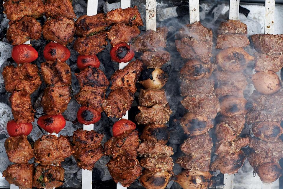 """This recipe is for classic Turkish lamb kebabs, with a marinade that includes tomato paste and a mix of spices for an intense flavor. <a href=""""https://www.epicurious.com/recipes/food/views/turkish-lamb-kebabs?mbid=synd_yahoo_rss"""" rel=""""nofollow noopener"""" target=""""_blank"""" data-ylk=""""slk:See recipe."""" class=""""link rapid-noclick-resp"""">See recipe.</a>"""