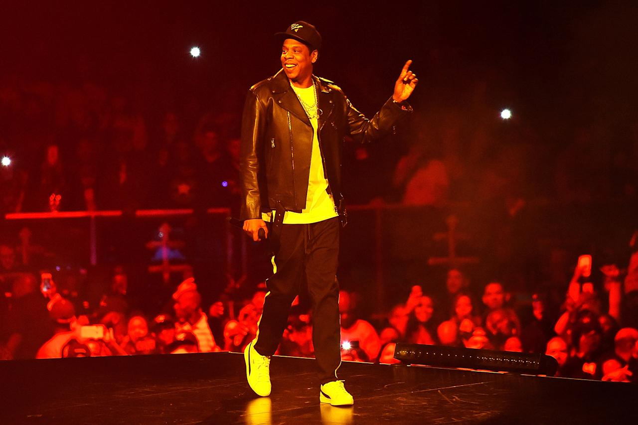 <p><i>4:44</i> became the rapper's 14th album to reach No. 1. He's second only to the Beatles, who had 19 No. 1 albums. At year's end, Jay-Z received eight Grammy noms, more than any other artist this year, including Album, Record, and Song of the Year.<br />(Photo: Getty Images) </p>