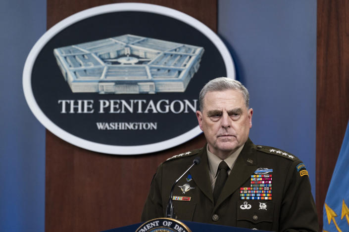 FILE - In this Aug. 18, 2021 photo, Joint Chiefs Chairman Gen. Mark Milley pauses while speaking during a media briefing at the Pentagon in Washington. (AP Photo/Alex Brandon)