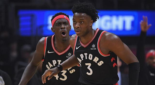 Siakam, left, and Anunoby are two of the Raptors' most important young players. (Photo by Harry How/Getty Images)