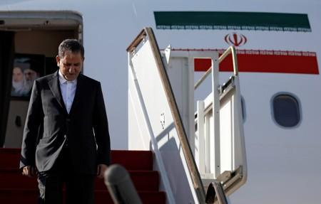 Iranian Vice President Jahangiri leaves the plane upon his arrival at Damascus international airport in Damascus