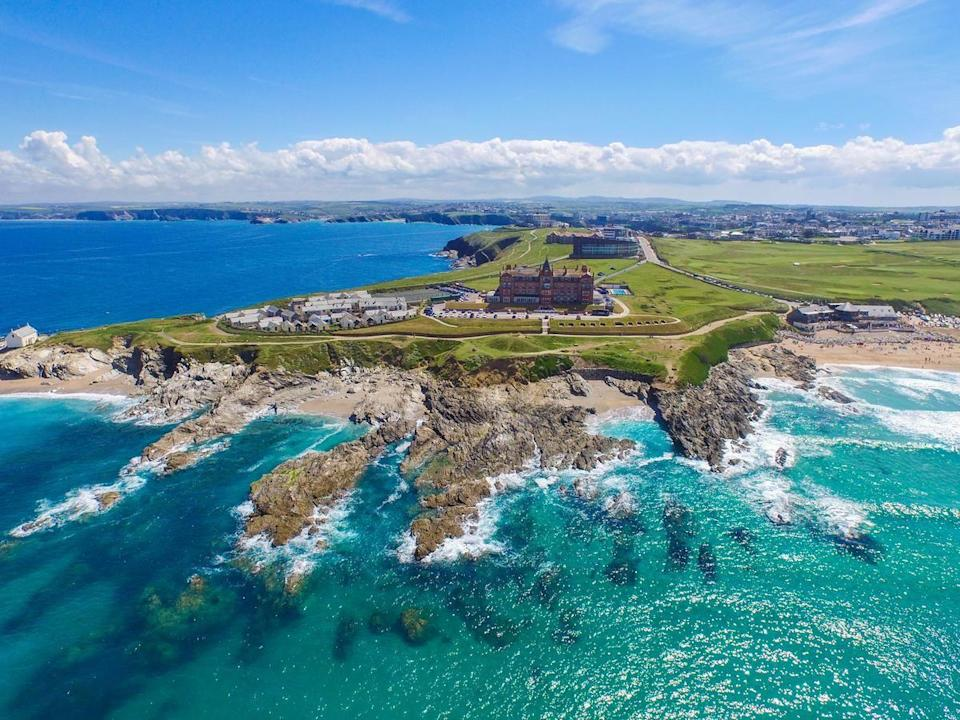 """<p>Garnering a prime position on a cliff overlooking Fistral Beach, this historic Victorian hotel has wow-factor written all over it. In fact, as beach hotels in the UK go, it has to be up there with one of the best.</p><p>It boasts a state-of-the-art spa (hello indoor and outdoor pools), ocean-view dining in AA rosette-awarded restaurants, a contemporary coastal-cool rooms and self-catering cottages.</p><p>There's a room to suit everyone, from single holidaymakers to families, and even the dog who, we're sure, will love the wide expanse of golden sand below as much as you will.</p><p><a href=""""https://www.goodhousekeepingholidays.com/offers/cornwall-newquay-headland-hotel"""" rel=""""nofollow noopener"""" target=""""_blank"""" data-ylk=""""slk:Read our review of The Headland Hotel & Spa."""" class=""""link rapid-noclick-resp"""">Read our review of The Headland Hotel & Spa.</a></p><p><a class=""""link rapid-noclick-resp"""" href=""""https://go.redirectingat.com?id=127X1599956&url=https%3A%2F%2Fwww.booking.com%2Fhotel%2Fgb%2Fthe-headland.en-gb.html%3Faid%3D1922306%26label%3Dbeach-hotels-uk&sref=https%3A%2F%2Fwww.goodhousekeeping.com%2Fuk%2Flifestyle%2Ftravel%2Fg34584524%2Fbeach-hotels-uk%2F"""" rel=""""nofollow noopener"""" target=""""_blank"""" data-ylk=""""slk:CHECK AVAILABILITY"""">CHECK AVAILABILITY</a></p>"""