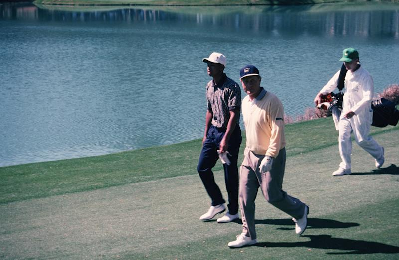 A young Tiger Woods and Jack Nicklaus in 1996. (Photo by Augusta National/Getty Images)