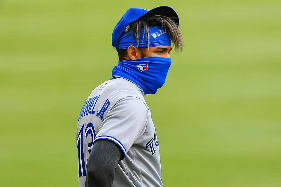 Lourdes Gurriel Jr. won the AL Player of the Week for the Jays, who have surpassed the Yankees in the AL East standings. (Photo by Rich von Biberstein/Icon Sportswire via Getty Images)