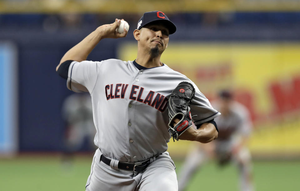 Cleveland Indians pitcher Carlos Carrasco delivers to the Tampa Bay Rays during the seventh inning of a baseball game Sunday, Sept. 1, 2019, in St. Petersburg, Fla. Carrasco is making his first appearance since May when he was diagnosed with leukemia. (AP Photo/Chris O'Meara)
