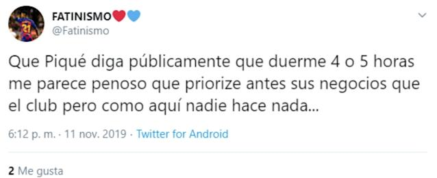 """Aquí nadie hace nada…"", se lamentaba este seguidor. (Foto: Twitter / <a href=""http://twitter.com/Fatinismo/status/1193939650693550080"" rel=""nofollow noopener"" target=""_blank"" data-ylk=""slk:@Fatinismo"" class=""link rapid-noclick-resp"">@Fatinismo</a>)."