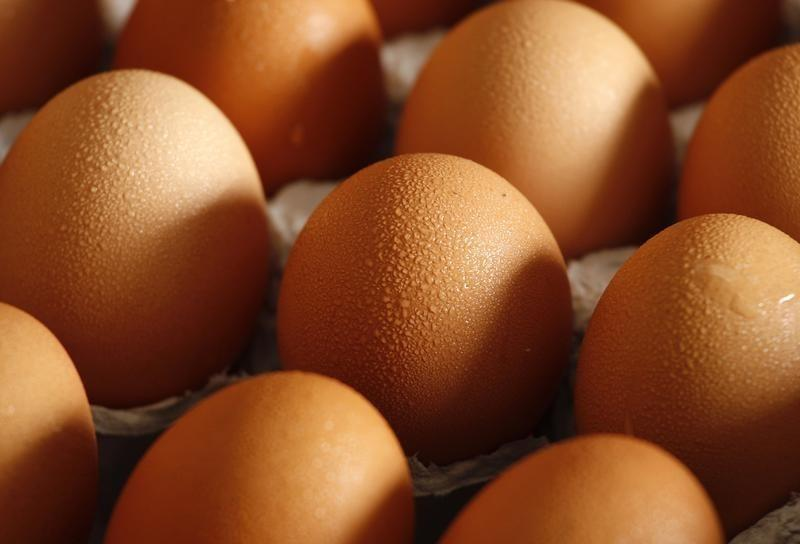 Eggs from mainland China are seen at a wholesale market in Hong Kong