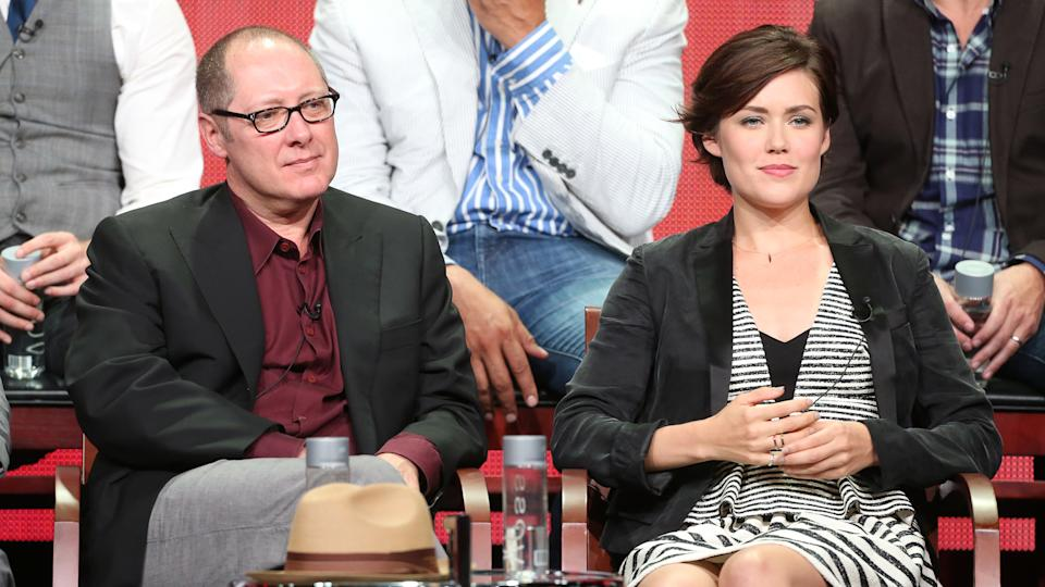 "BEVERLY HILLS, CA - JULY 27:  (L-R) Actors James Spader and Megan Boone speak onstage during ""The Blacklist"" panel discussion at the NBC portion of the 2013 Summer Television Critics Association tour - Day 4 at the Beverly Hilton Hotel on July 27, 2013 in Beverly Hills, California."
