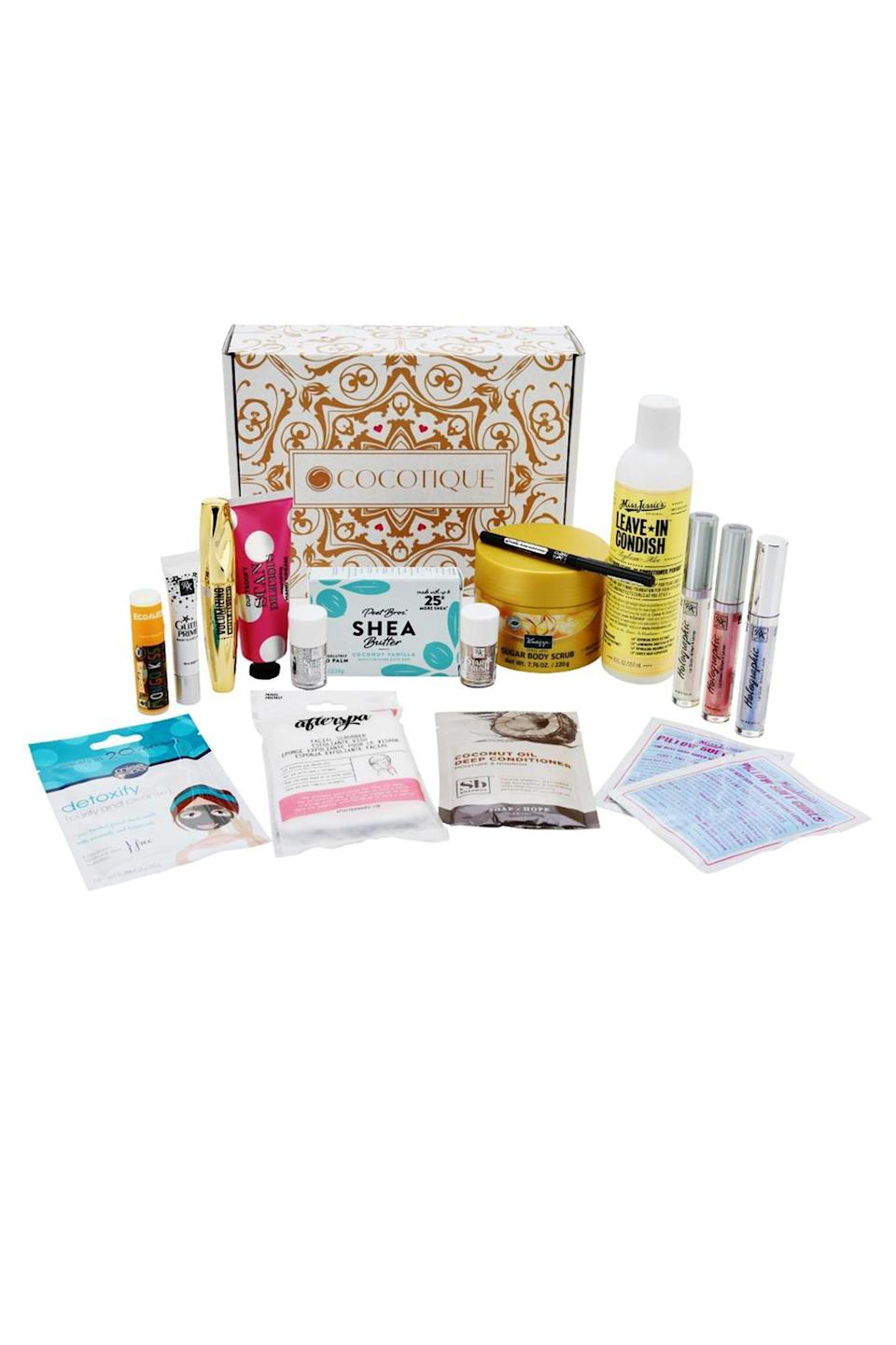 """<p><strong>Cocotique</strong></p><p>Cocotique</p><p><strong>$25.00</strong></p><p><a href=""""https://www.cocotique.com/products/the-box-monthly"""" rel=""""nofollow noopener"""" target=""""_blank"""" data-ylk=""""slk:Shop Now"""" class=""""link rapid-noclick-resp"""">Shop Now</a></p><p>Cocotique brings you the best in <a href=""""https://www.elle.com/beauty/makeup-skin-care/a34851519/thirteen-lune-nyakio-grieco-black-beauty/"""" rel=""""nofollow noopener"""" target=""""_blank"""" data-ylk=""""slk:Black beauty"""" class=""""link rapid-noclick-resp"""">Black beauty</a> and wellness products for just $25 a month. With boxes ranging from five to six products in both full and travel sizes, this subscription box is so worth it.</p>"""