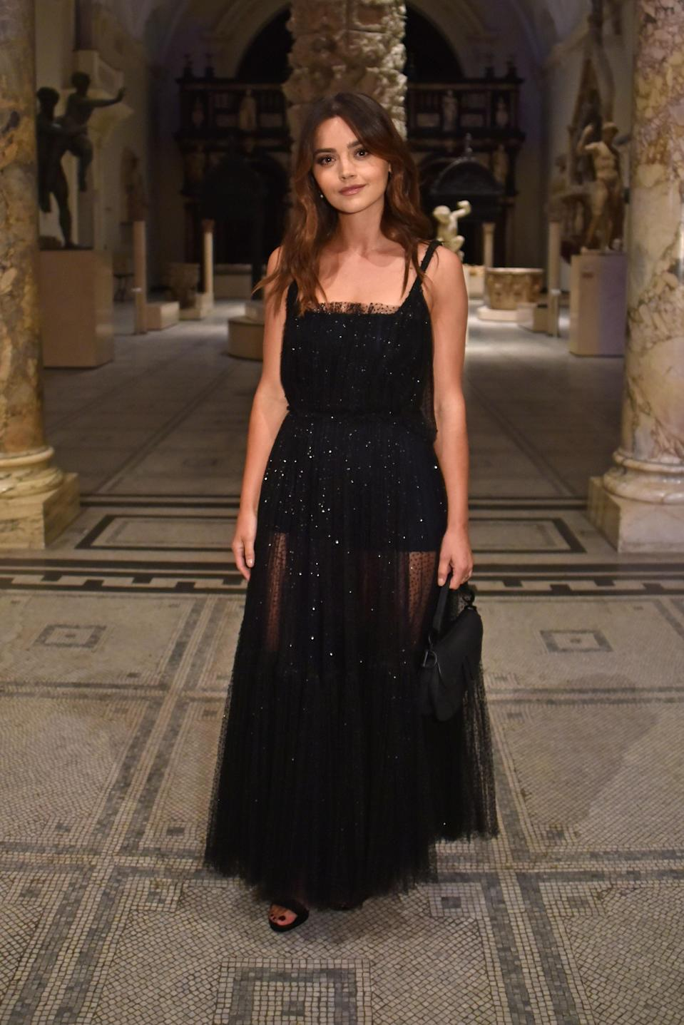 <p>For the starry evening spent at the Victoria and Albert Museum in London, actress Jenna Coleman sparkled in a sheer dress. <em>[Photo: Getty]</em> </p>