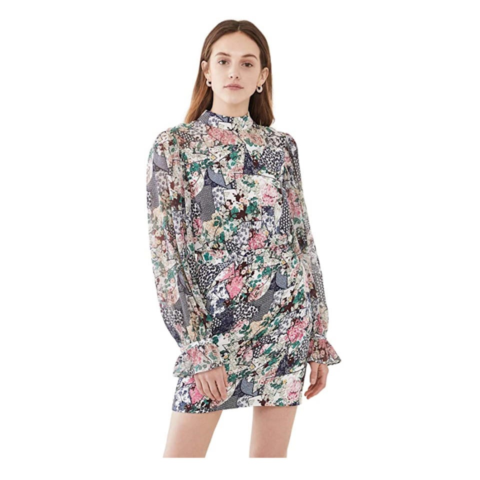 """Florals for fall? Yes, you read that right. Twirl the night away in this mini dress, which looks more polished than prim; we can't get enough of the banded cuffs on the sleeves, either. $238, Amazon. <a href=""""https://www.amazon.com/SALONI-Womens-Dress-Floral-Ceramic/dp/B094RY8X2M"""" rel=""""nofollow noopener"""" target=""""_blank"""" data-ylk=""""slk:Get it now!"""" class=""""link rapid-noclick-resp"""">Get it now!</a>"""