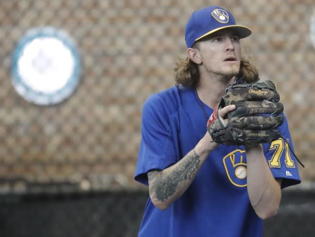 Josh Hader earned the support of his teammates after issuing tearful apology for past offensive tweets. (AP)