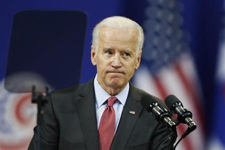 U.S. Vice President Joe Biden reacts as he delivers his speech at Yonsei University in Seoul