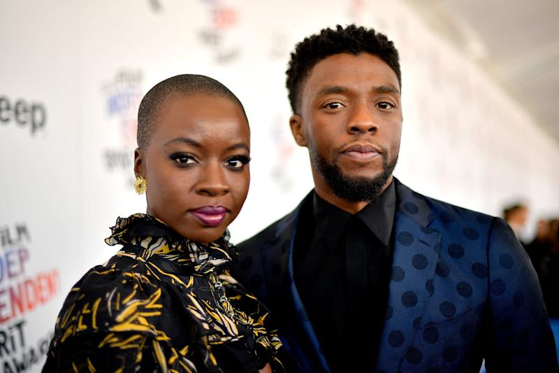 SANTA MONICA, CA - MARCH 03: Actors Danai Gurira (L) and Chadwick Boseman attend the 2018 Film Independent Spirit Awards on March 3, 2018 in Santa Monica, California. (Photo by Matt Winkelmeyer/Getty Images)
