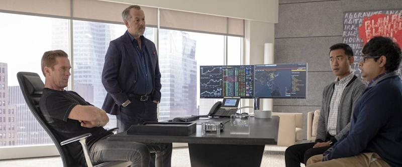 Scene from Billions, Bobby Axelrod in a meeting