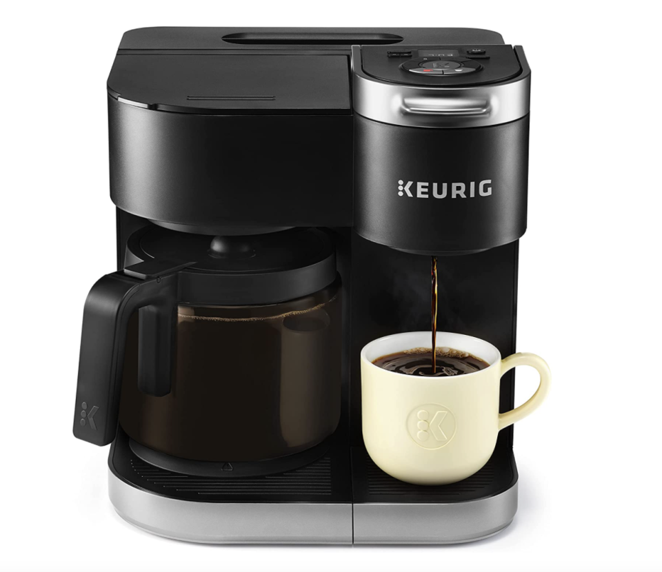 Keurig K-Duo Single Serve K-Cup Pod and Carafe Coffee Maker with yellow coffee cup