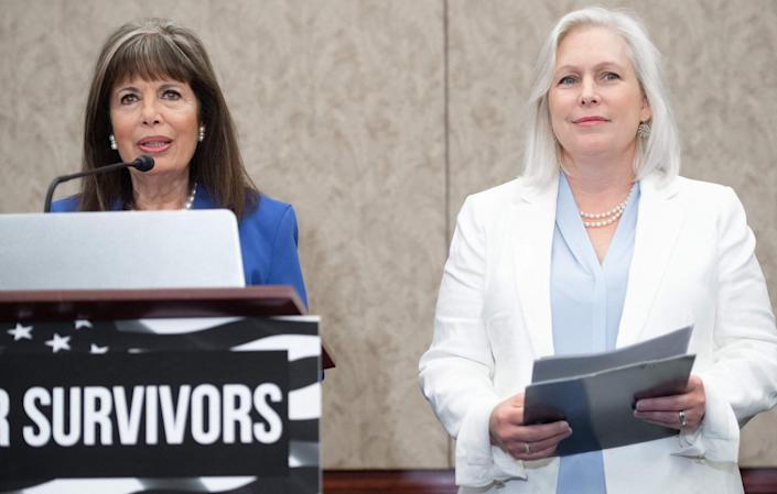 From left, Rep. Jackie Speier, D-Calif., and Sen. Kirsten Gillibrand, D-N.Y., introduce the Vanessa Guillen Military Justice Improvement and Increasing Prevention Act on June 23, 2021.
