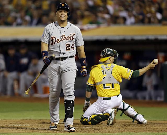 Detroit Tigers Miguel Cabrera walks back to the dugout after striking out in the third inning of Game 2 of an American League baseball division series against the Oakland Athletics in Oakland, Calif., Saturday, Oct. 5, 2013. (AP Photo/Marcio Jose Sanchez)