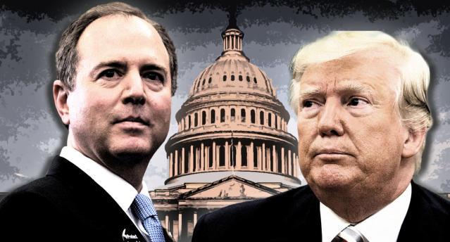 House Intelligence Chair Rep. Adam Schiff and President Trump. (Photo illustration: Yahoo News; photos: AP (2), J. Scott Applewhite/AP)