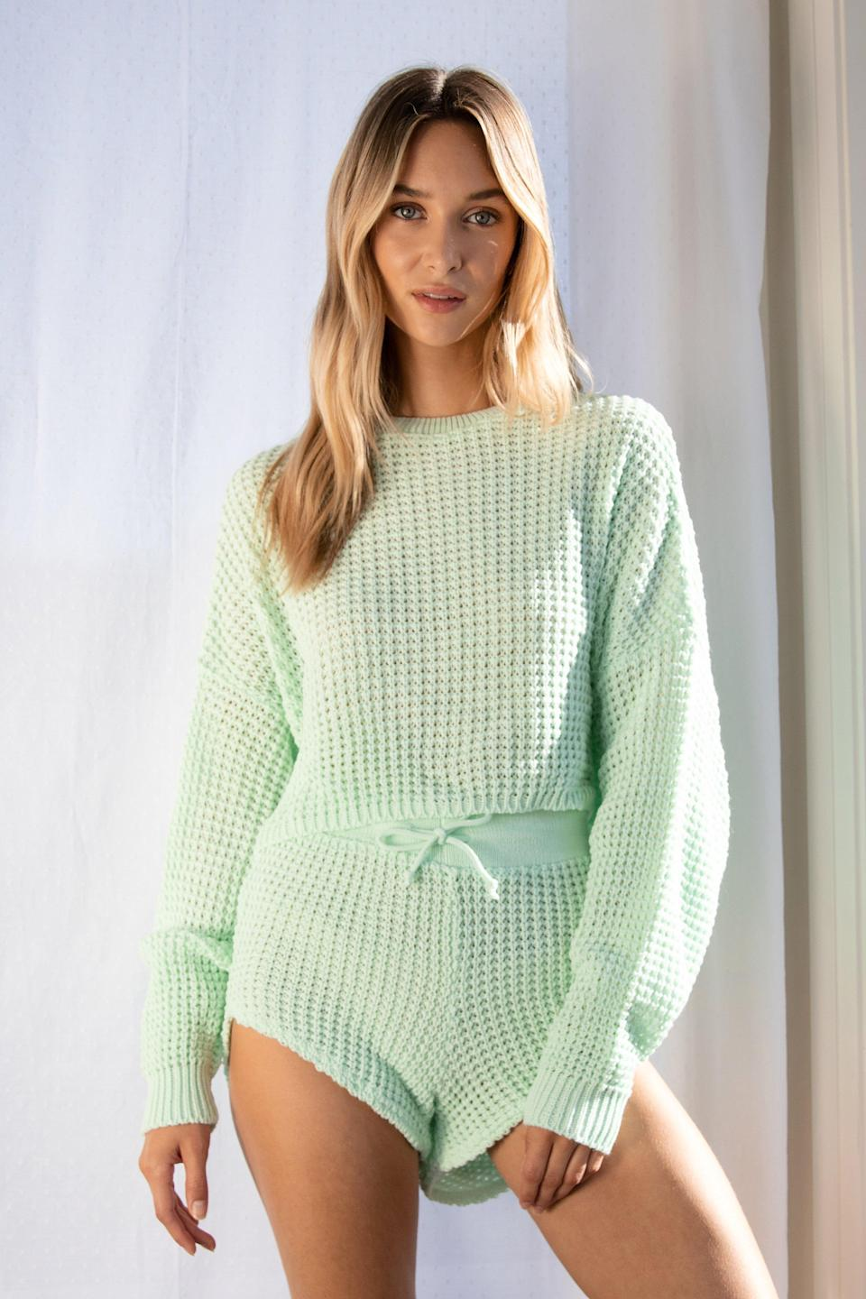 "<h3><a href=""https://upwest.com/products/womens-french-terry-jogger?"" rel=""nofollow noopener"" target=""_blank"" data-ylk=""slk:Knit Pause Sweater and Shorts Lounge Set"" class=""link rapid-noclick-resp"">Knit Pause Sweater and Shorts Lounge Set</a></h3><br><br><strong>NastyGal</strong> Knit Pause Sweater and Shorts Lounge Set, $, available at <a href=""https://go.skimresources.com/?id=30283X879131&url=https%3A%2F%2Fwww.nastygal.com%2Fknit-pause-sweater-and-shorts-lounge-set%2FAGG47450-356-56.html%3F"" rel=""nofollow noopener"" target=""_blank"" data-ylk=""slk:NastyGal"" class=""link rapid-noclick-resp"">NastyGal</a>"
