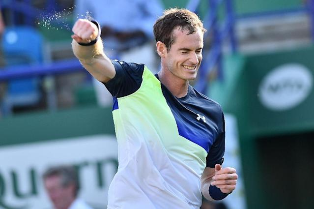 Andy Murray clinched his first win on the comeback trail, beating Stan Wawrinka at Eastbourne (AFP Photo/Glyn KIRK )