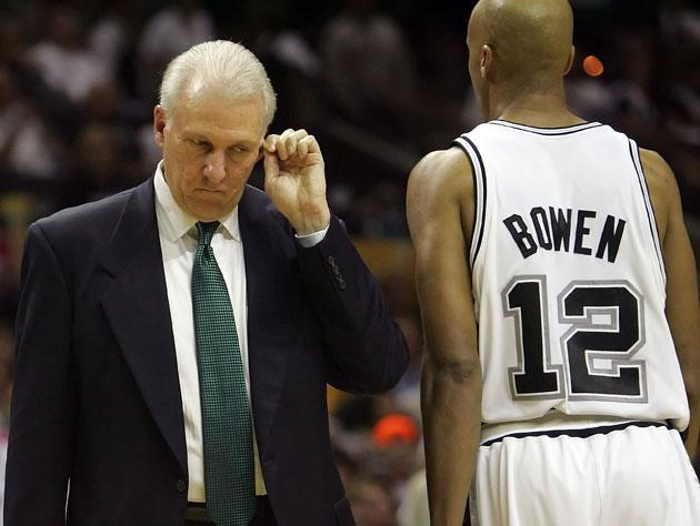 Gregg Popovich and Bruce Bowen in 2006-07. (Getty Images)