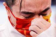 <p>Liu Yang of China sheds a tear as he celebrates after winning the gold medal in the Mens Rings Final at Ariake Gymnastics Centre on August 2.</p>