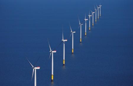 General view of the Walney Extension offshore wind farm operated by Orsted off the coast of Blackpool